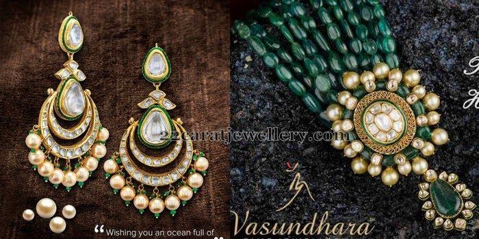 Jewellery Designs: Kundan Locket with Chandbalis
