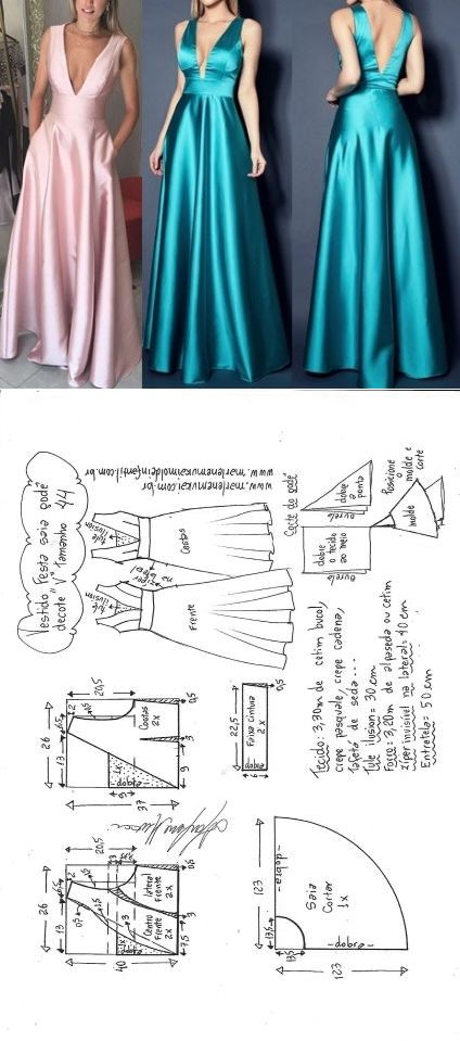 Vestido Festa godê com decote \'V\' | DIY - molde, corte e costura - Marlene Mukai