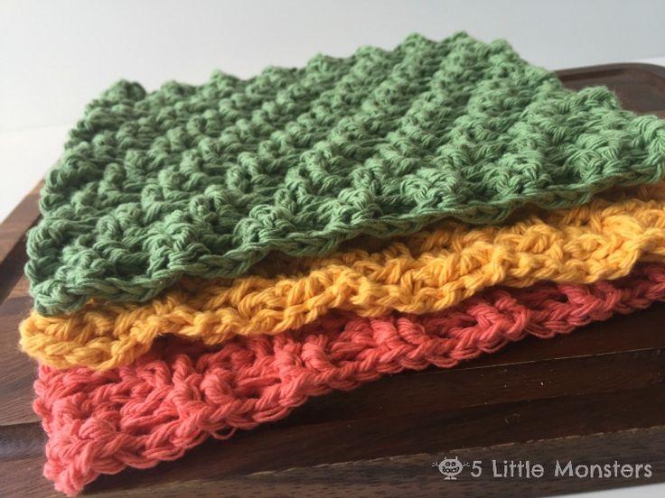 5 Little Monsters: Diagonal Weave Crochet Dishcloths
