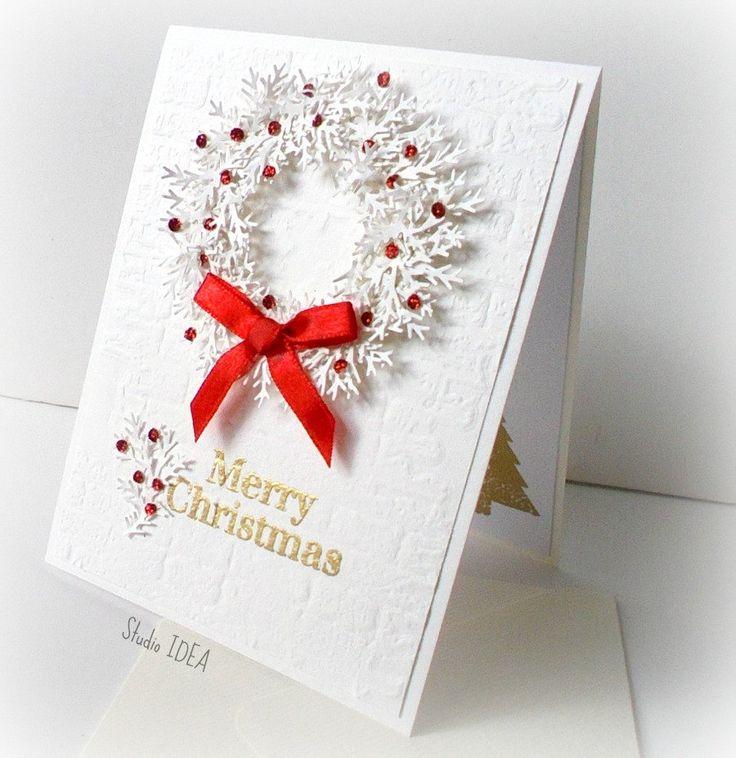 White Christmas Wreathe Card with Envelope - Merry Christmas White Wreathe with…