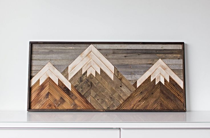 Mountain Art Piece made from reclaimed barnwood.  May be customized to any size or color specifications! Contact for details!