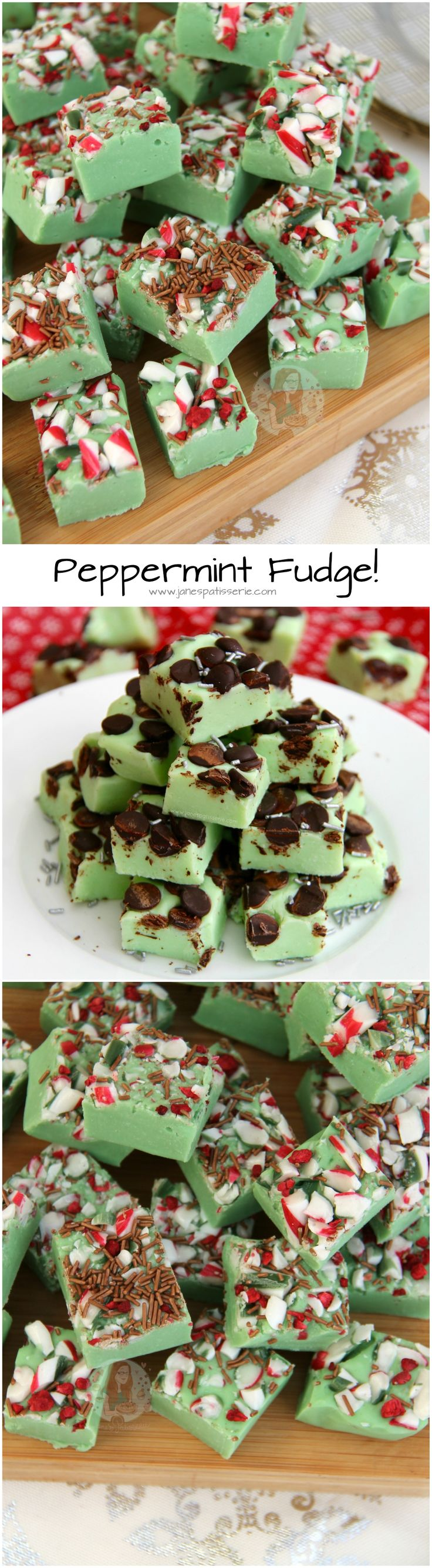 Peppermint Fudge! ❤️ Deliciously easy to make Fudge that is brimming with the Scrumptious Peppermint Flavour - dotted with Candy Canes, Dark Chocolate Chips, Sprinkles and more!