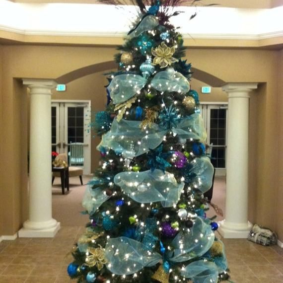 Up For Your Consideration And Pleasure Christmas Aqua Blue Tulle Garland Ribbon Brand N Tulle Christmas Trees Peacock Christmas Tree Christmas Tree Design