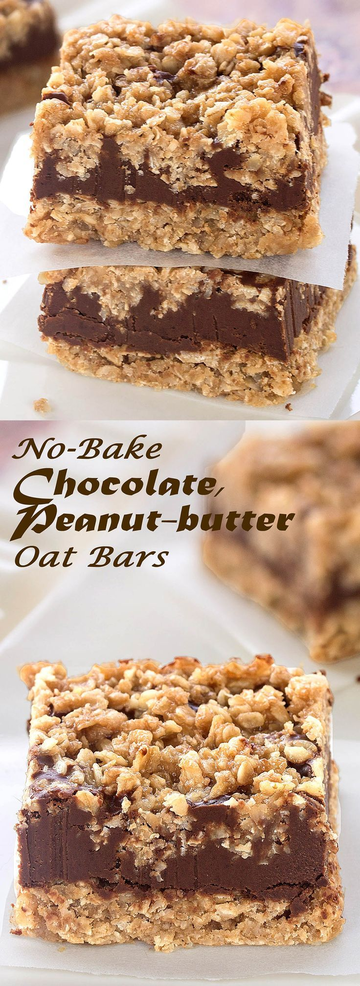 No-bake, egg-free, gluten-free Chocolate Peanut-butter Oat Bars These delicious bars are super easy-to-make.    Something Sweet - Winnie's blog