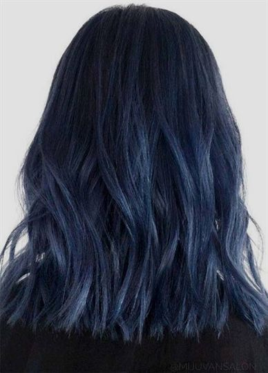Blue Denim Hair Colors Midnight To Midday Lob Brownombrehair