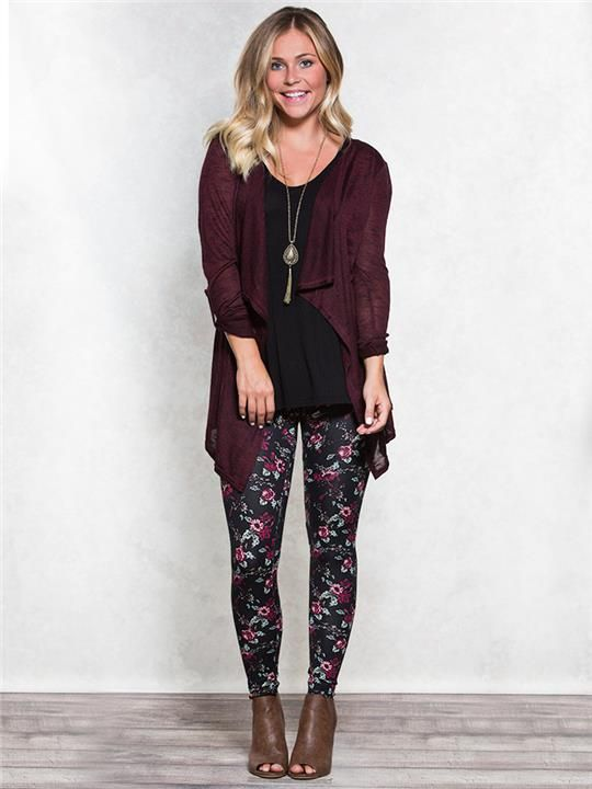 Fall Outfit: Floral leggings and Cinch Back Hacci Cardigan