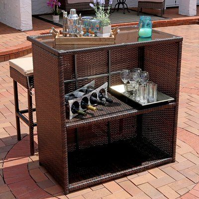 Bayou Breeze Elizabethtown 3-Piece Wicker Rattan Outdoor Patio Bar Set