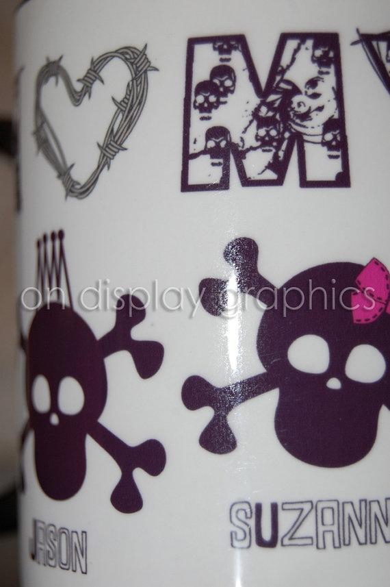 Personalized Skull Family Coffee Mug by OnDisplayGraphix on Etsy, $12.00