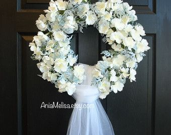wedding wreath, wedding decor spring summer wreath wedding wreaths for front door wreath decorations decor flowers  This listing is for beautiful wedding front door decor. The perfect front door or wall decor, wedding decorations. This decoration is made with artificial white orchids and white tule veil.  Measures: wreath measure across 18-19, veil is 50 long  International shipping available, please ask me for correct shipping cost.   See my other door decor https://www.etsy.com&#x...
