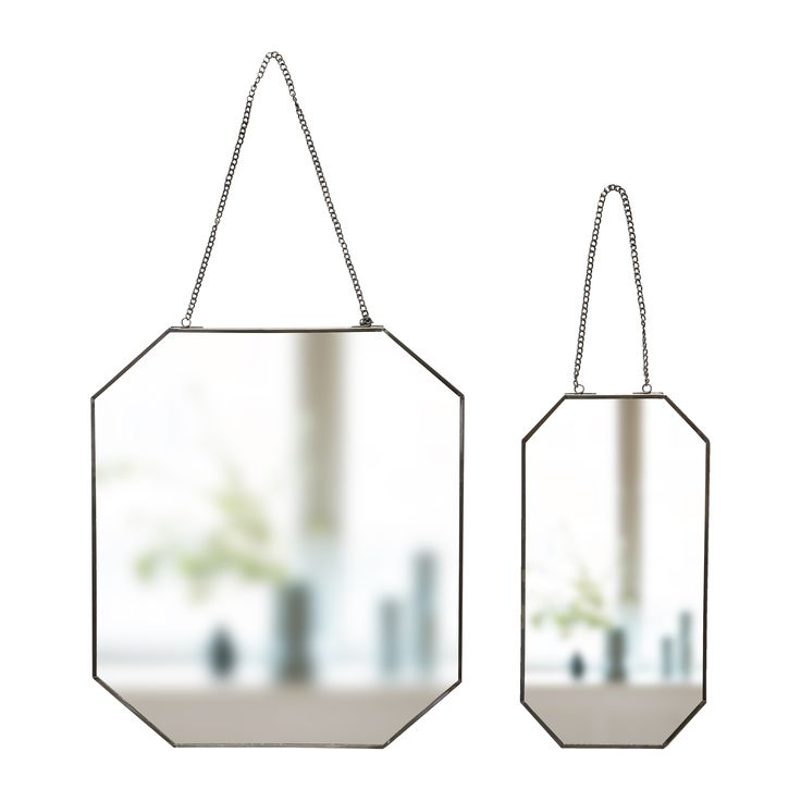 Two octagonal mirrors with chain. Product number: 670307 - Designed by Hübsch