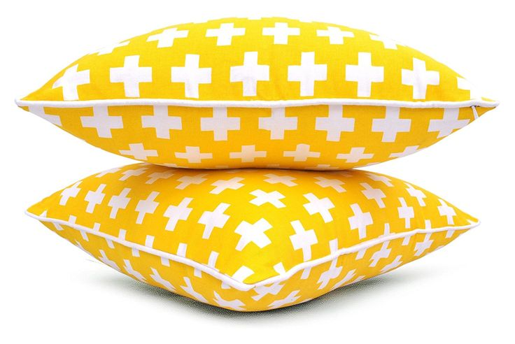 Amazon.com: Bath Bed Decor Yellow Throw Pillow Covers (Set of 2) 18 x 18 Inches Cotton Swiss Cross Printed Cushion Covers: Home & Kitchen