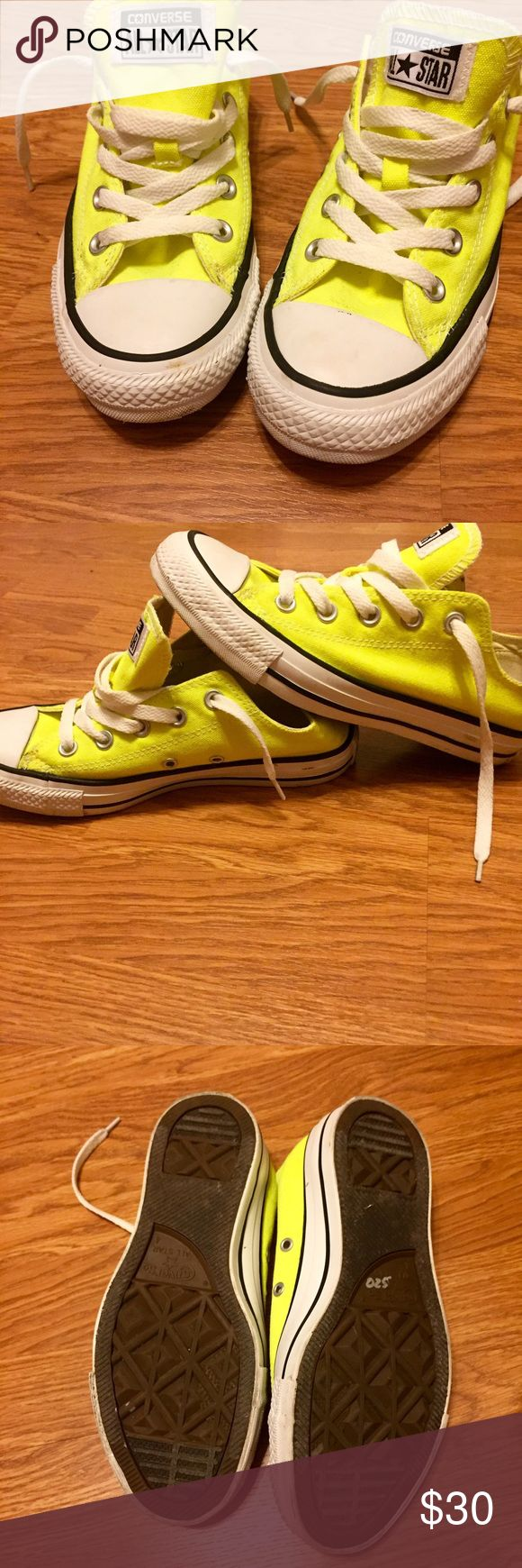 Converse neon yellow shoes Worn once, in good condition. Converse Shoes Athletic Shoes