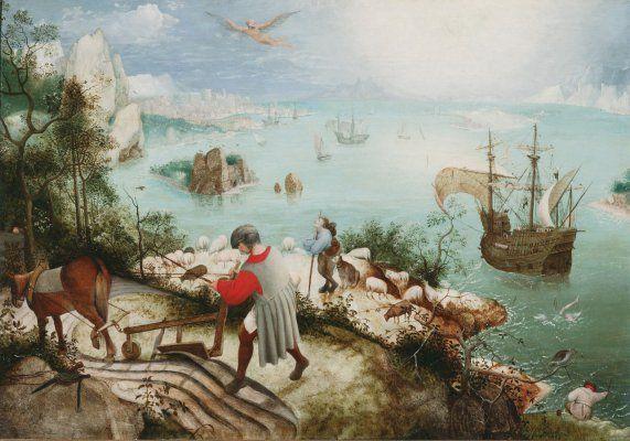 Van Buuren Museum | Pierre Bruegel l'Ancien - 'La chute d'Icare', 1590-95, Oil on wood, 63x90 cm