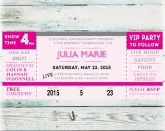 Ballet Ticket Birthday Party Photo Invitation by JanetteChiuDesign