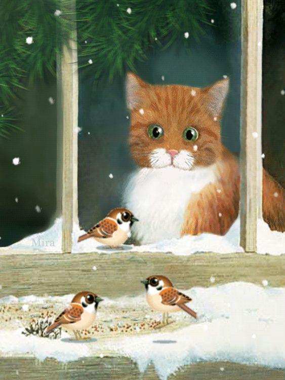 animation, cat, gif animated, gif анимация, illustranion, mira, анимации, анимация, блеск, гифка, картина, кот, мои анимации, надписи, открытки, птички, текст штамп, футажи