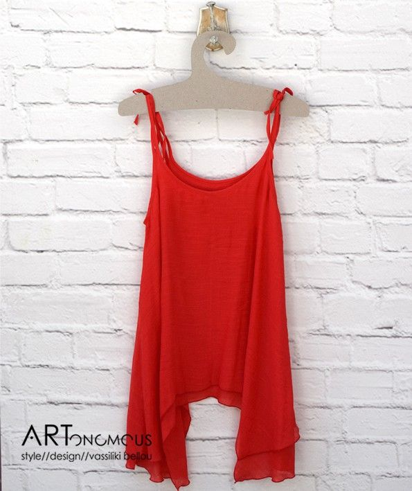 Coral red loose top