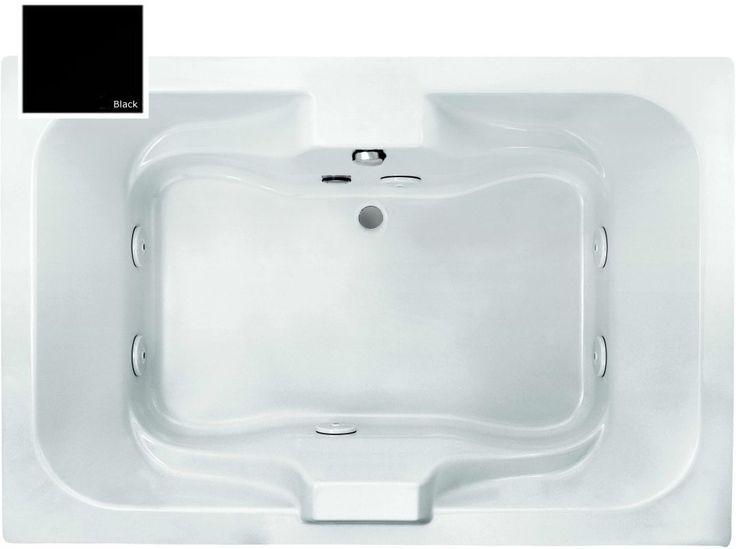 "Purewater Baths ACM6-27 Salish 71-1/4"" Acrylic Elite System 6 Jet Whirlpool Bath Black Tub Whirlpool Drop-In #jettub"