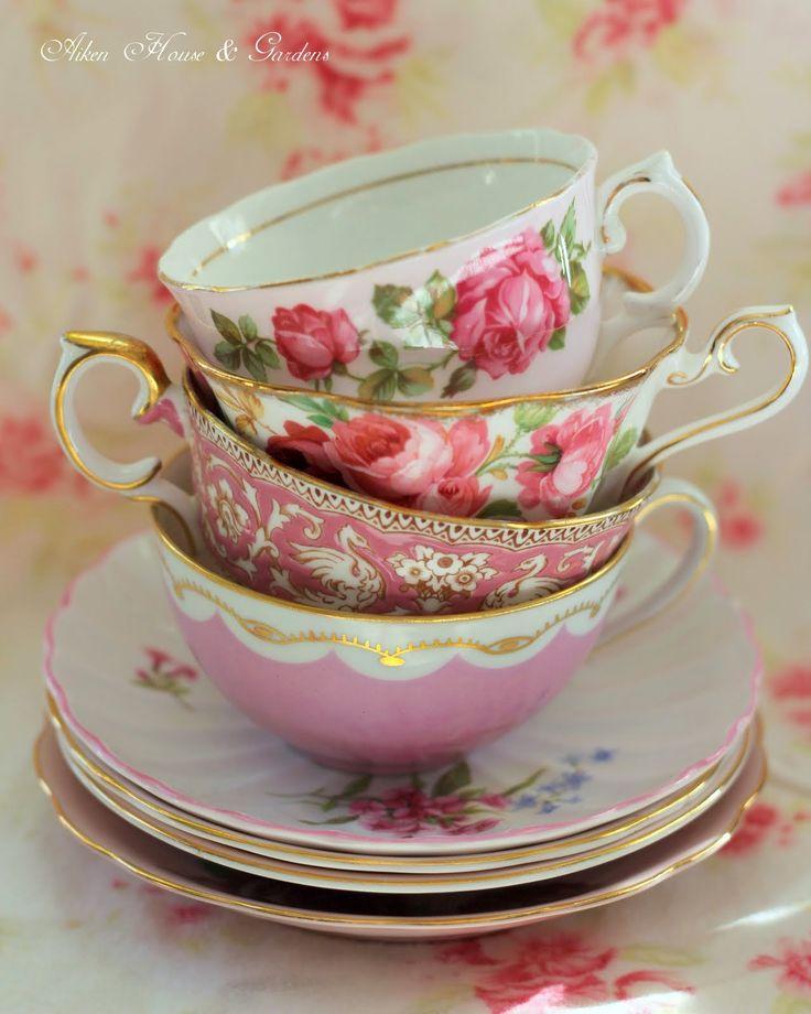 Stack of lovely pink teacups. Aiken House & Gardens blog