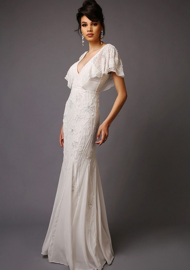 The Elizabeth wedding dress from Virgos Lounge with bandeau style wedding neckline and trumpet style skirt - See more at: www.onefabday.com