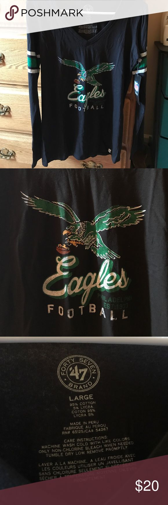 Eagles Retro V-Neck Long Sleeve NEW WITH TAGS Philadelphia Eagles women's long sleeve v-neck tee. Retro logo and stripes on sleeves. Super soft and perfect for the fall. Size Large. '47 brand '47 Brand Tops Tees - Long Sleeve
