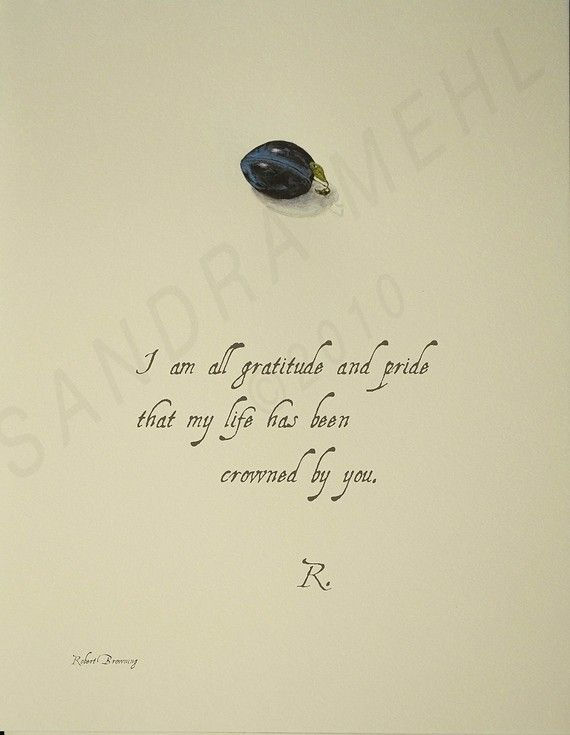 Love Letter with Plum by sandim on Etsy, this quote from Robert Browning to his Love, Plum
