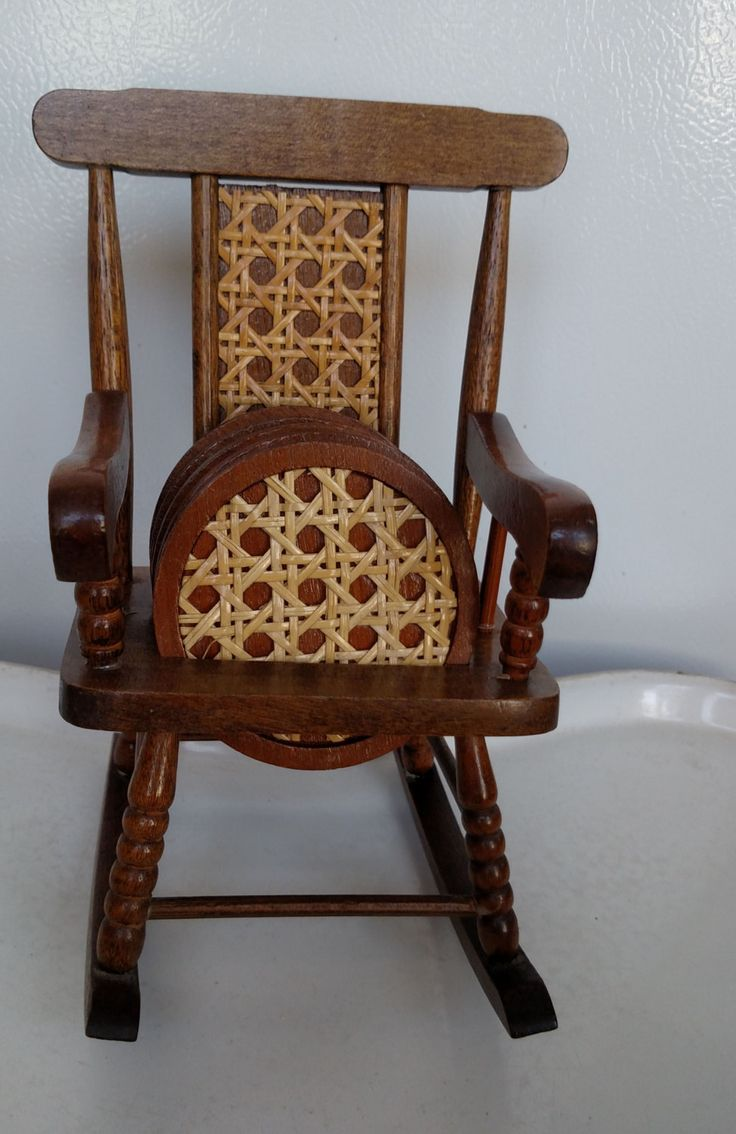 Vintage rattan rocking chair - Vintage Wicker Rocking Chair Coaster Set By Timdebswhatnotshop On Etsy