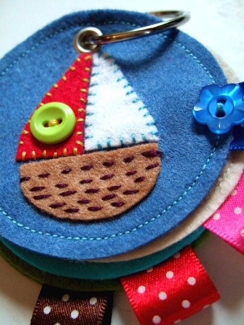 NeedleBook with embroidered Sailing Boat. : I could see this remade as a mini quiet book idea for kids or something similar.