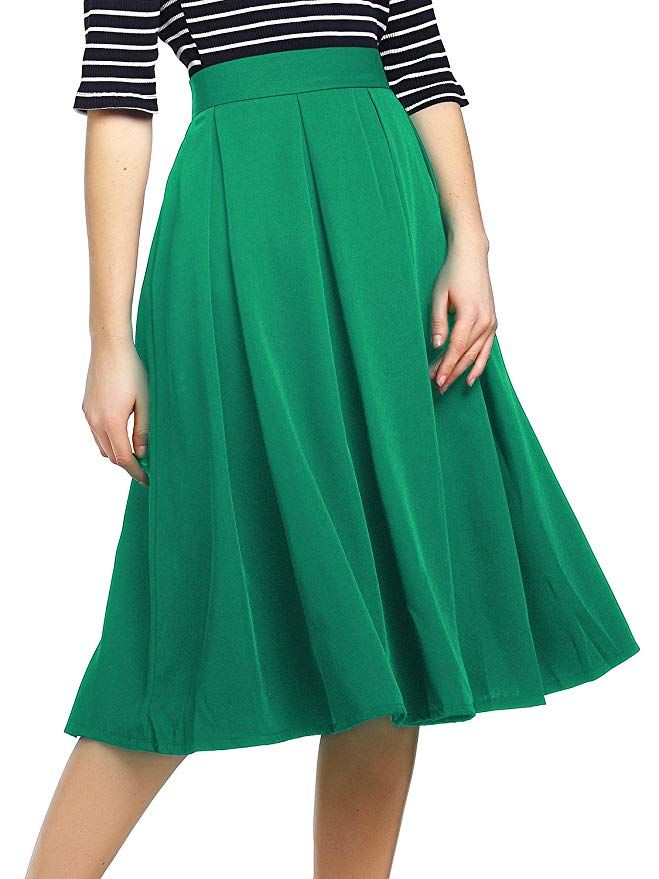 f9a1184e4d2a6e Beluring Womens High Waist A-Line Skater Skirt with Pockets at Amazon  Women's Clothing store: