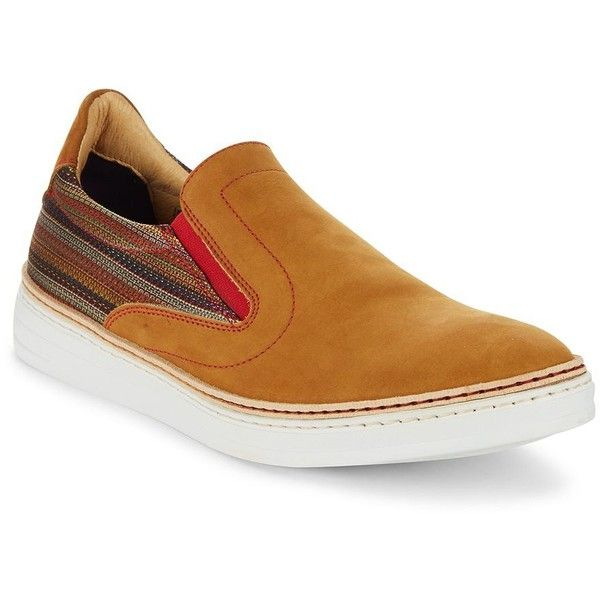 Robert Graham Leather Slip-On Sneaker ($130) ❤ liked on Polyvore featuring men's fashion, men's shoes, men's sneakers, brown, mens shoes, mens slip on dress shoes, mens brown leather shoes, mens leather dress shoes and mens slipon shoes