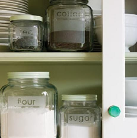 Etched Glass Kitchen Containers | 50 Clever DIY Ways To Organize Your Entire Life