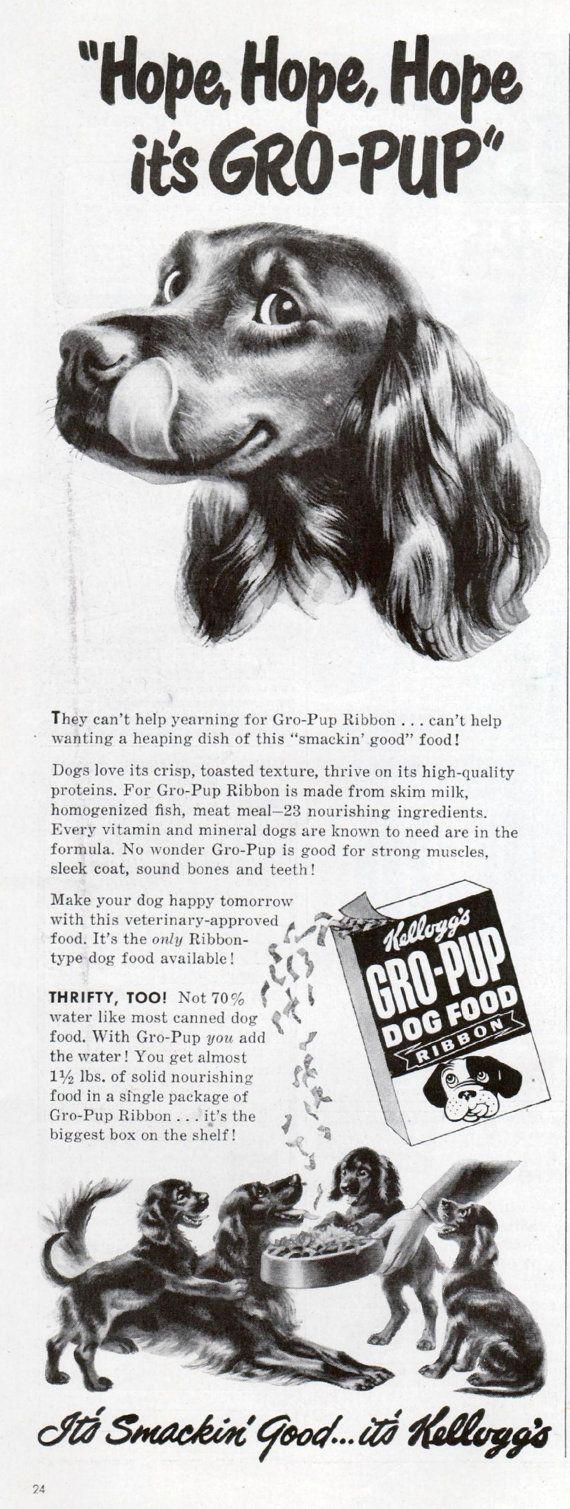 Ierse SETTER hond Kellogg's Gro Pup Dog Food Ad 1949 door RoxyRani