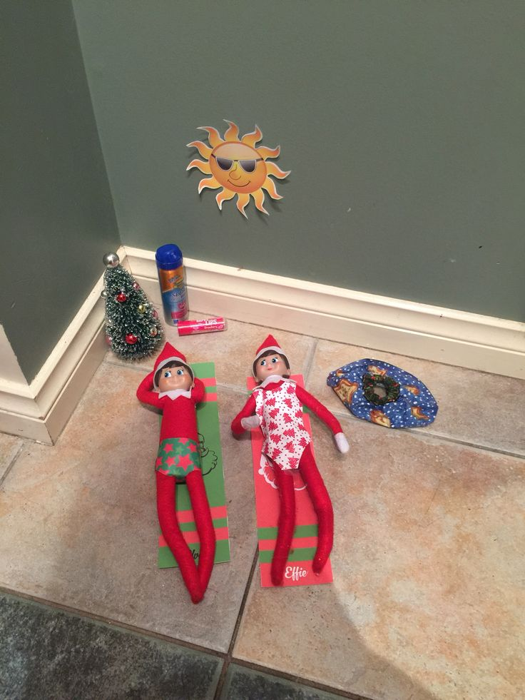 December 16 - It's been HOT so our elves decided to do some sun baking. Not before they put on some 50+ #elfontheshelf