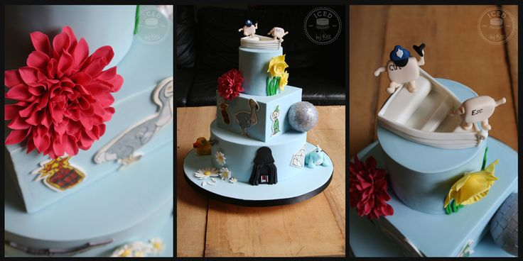 """D for """"Different"""" Wedding Cake :)  Dayle & Dirk wanted lots of things starting with D on their wedding cake, Dinghy, Daffodil, Dahlia, Dynomite, Dodo, Dopey, Disco Ball, Dinosaur, Diamond, Daisy, Darth Vader :) kez* x"""