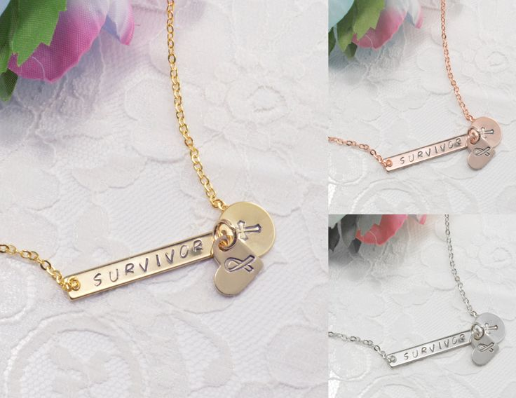 Bar Heart Coin Disc Cross Faith Breast Cancer Support Survivor Necklace Jewelry Dainty Birthday Gift Bridesmaid Rose Gold Silver by CreationsbyTerra on Etsy