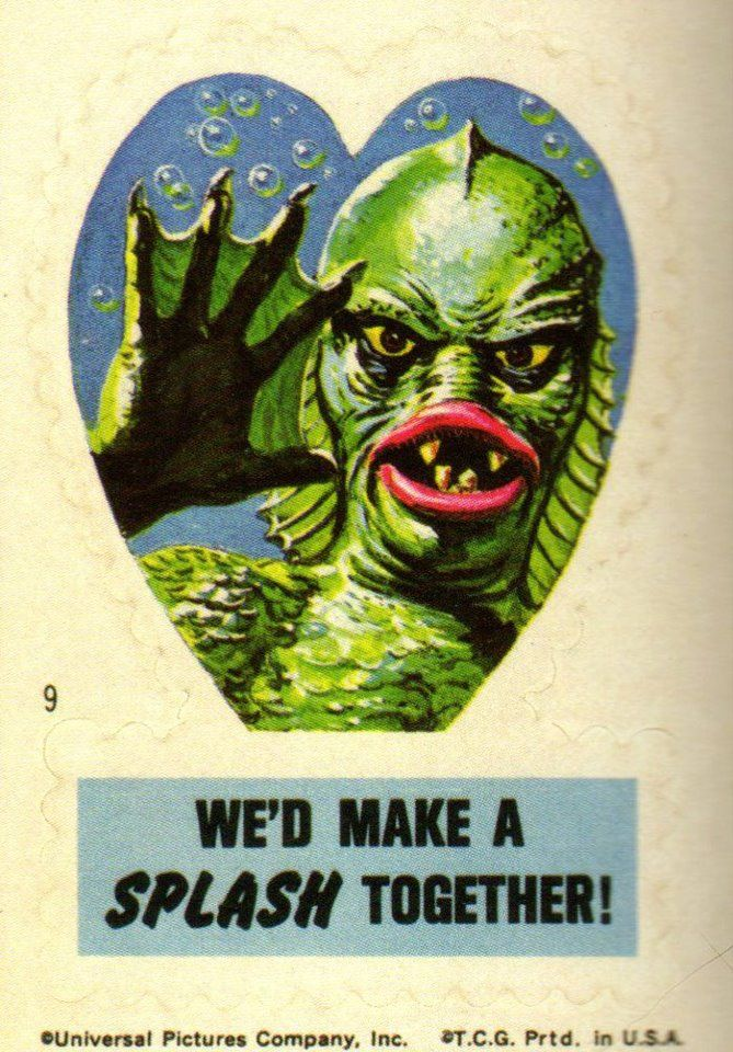 Creature From The Black Lagoon  Valentine Sticker (1966).