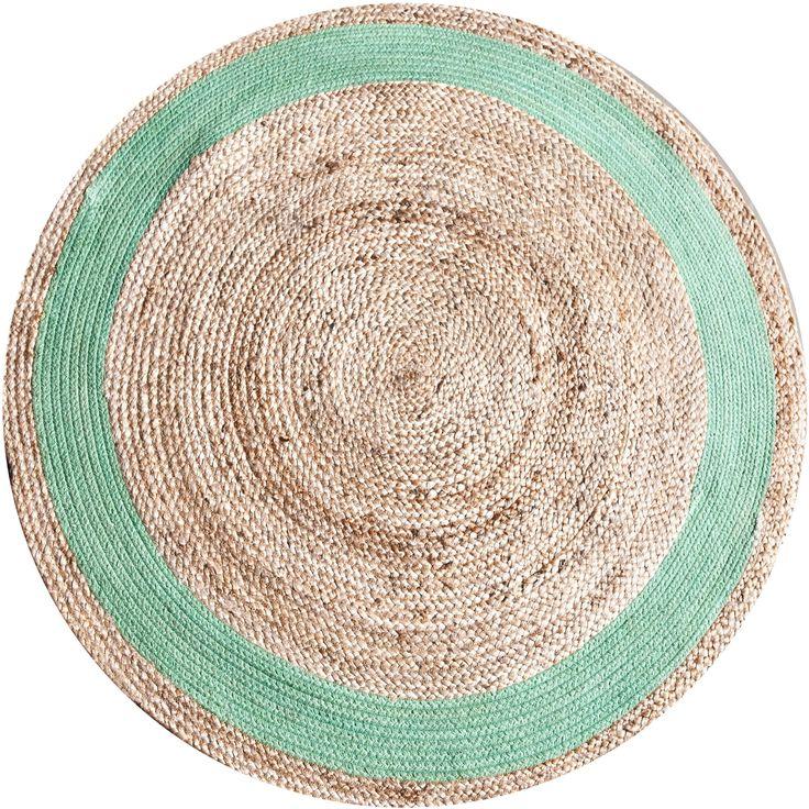 Jute round vloerkleed groen