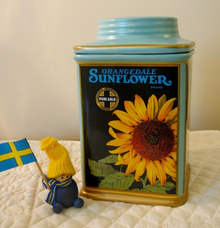 oneida vintage labels orangedale sunflower kitchen hand painted sunflowers kitchen canister by
