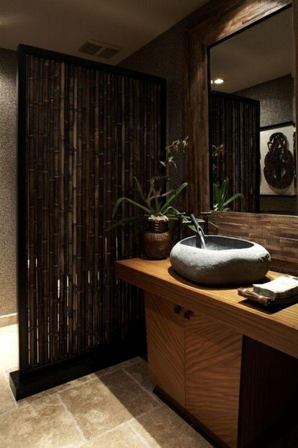 vasque en pierre et canisse bambou