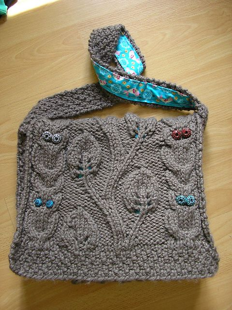 Ravelry: think4leafclover's Owl, Leaves, and Vines Messenger Bag