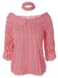 Stripe Off The Shoulder Chocker Blouse in Red | Sammydress.com Mobile