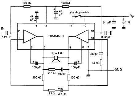 TDA1515 audio power amplifier bridge mode circuit diagram