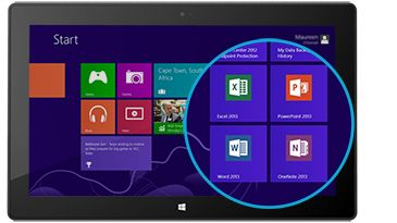 Microsoft Office apps on Surface tablet (Windows 8RT)