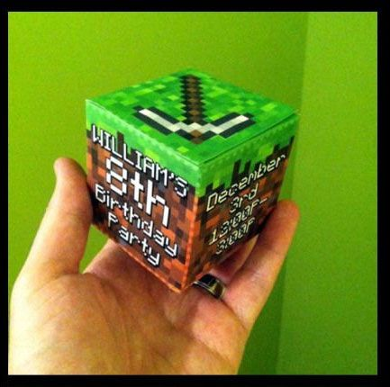 Minecraft party invitations - make these awesome 3D cube invitations with download from http://www.elliepetrov.com/printable-minecraft-birthday-card/