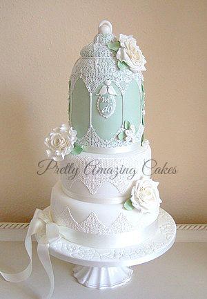 mint green lace cakes | Green vintage birdcage wedding cake Bristol, Pretty Amazing Cakes ...