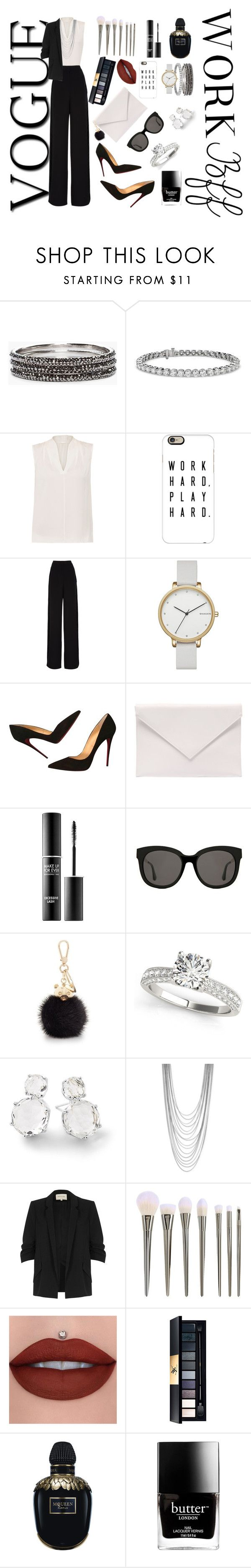 """Office"" by tamazyananna ❤ liked on Polyvore featuring Chico's, Blue Nile, Elie Tahari, Casetify, Rochas, Skagen, Christian Louboutin, Verali, MAKE UP FOR EVER and Gentle Monster"