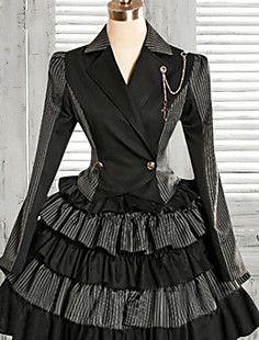 Jas met lange mouwen knielange zwarte & grijze strepen Rok Classic Lolita Outfits