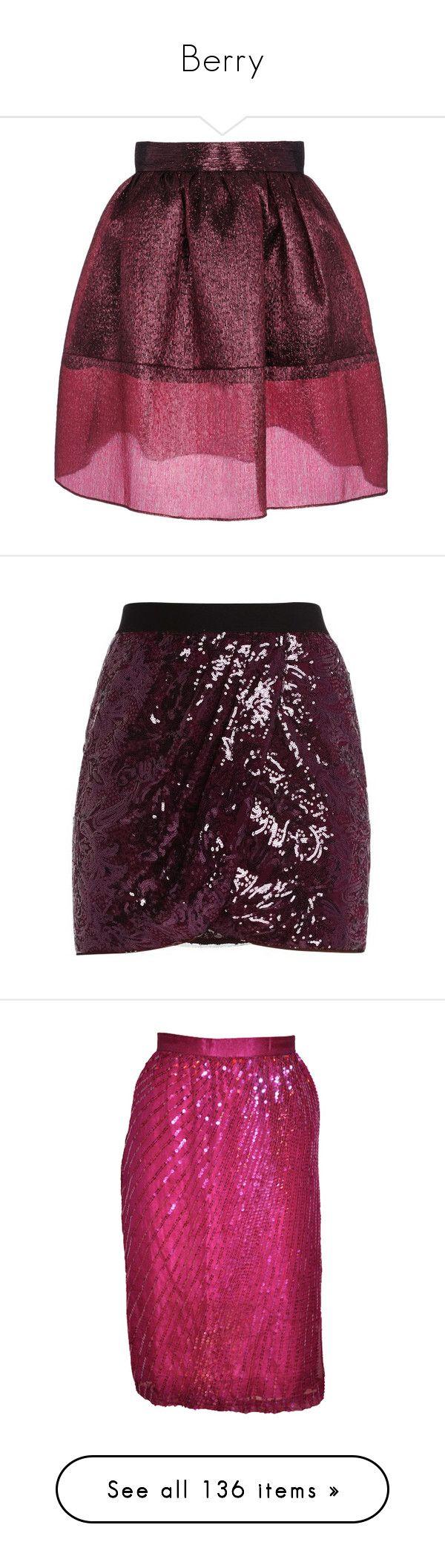 """Berry"" by pinkandgoldsparkles ❤ liked on Polyvore featuring skirts, bottoms, saias, faldas, maroon, silk skirt, purple skirt, knee high skirts, purple ruffle skirt y golden goose"