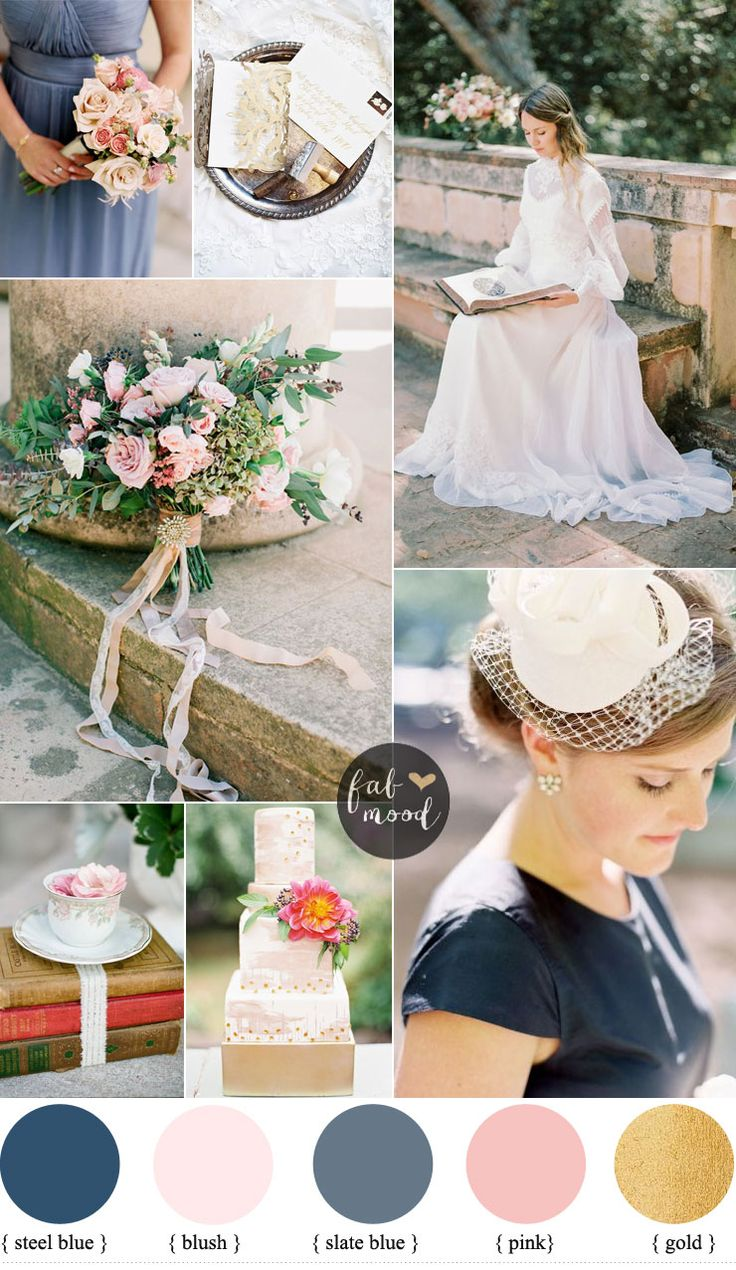 Blush Pink and Slate Blue Wedding Colours For Vintage Wedding | slate blue wedding ideas on fabmood.com