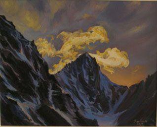 Драконье зарево в горах, 40х50, холст, масло