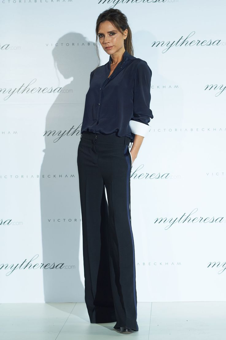 20 March Victoria Beckham was the ultimate workwear inspiration in a navy shirt and wide-leg trousers for the mythereasa.com x Victoria Beckham dinner in Seoul.    - HarpersBAZAAR.co.uk